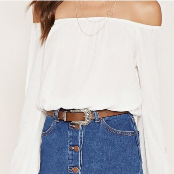 f957fed3442 Forever 21 Tops   White Off The Shoulder Long Sleeve Crop Top   Poshmark